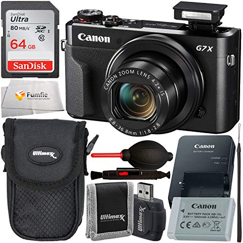Canon PowerShot G7 X Mark II Digital Camera (Black) with Starter Accessory Bundle – Includes: Free SanDisk Ultra 64GB SDXC (Class 10) Memory Card + More