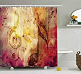 Ambesonne Artsy Shower Curtain Abstract Bath Decor by, Modern Musical Artwork Classroom Music Note Theme Grunge Jazz Musician Symbols for Teen Girls Fabric Bathroom, Fuchsia Brown Red Yellow Beige