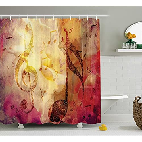 ambesonne artsy shower curtain abstract bath decor by modern musical artwork classroom music note theme grunge jazz musician symbols for teen girls fabric - Musical Shower Curtains