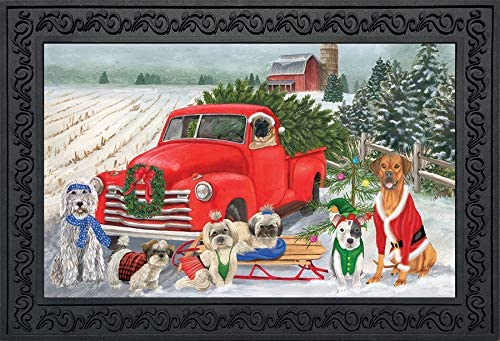 Briarwood Lane Holiday Dogs Christmas Doormat Pickup Truck Humor Indoor Outdoor 18 x 30