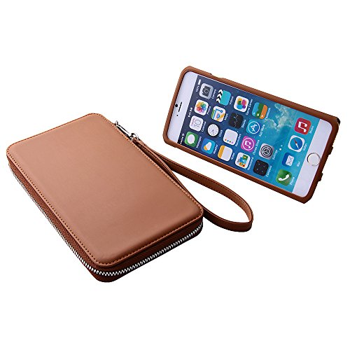Colorful Strap with Leather Pouch Case for iPhone 6 Plus (Brown)