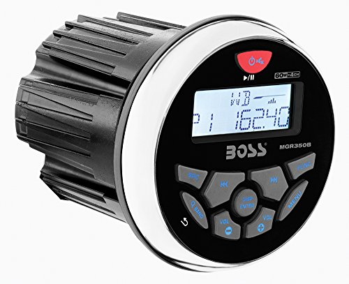 BOSS Audio MGR350B In-Dash, Marine Gauge, Bluetooth, Digital Media MP3 / WMA / USB / AM/FM Weather-Proof Marine Stereo, (No CD Player)