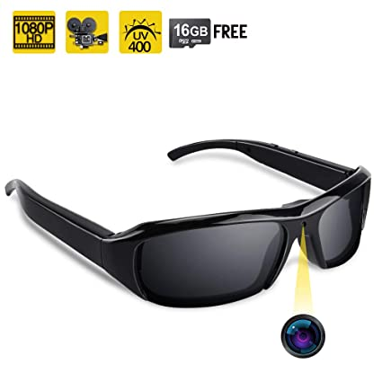 0f1270d82d4a Amazon.com : 1080P HD Sunglasses Hidden Camera - Video Recording Spy  Eyeglasses Plus Photo Taking Function, UV400 Polarized Glasses, 16GB Memory  Card ...