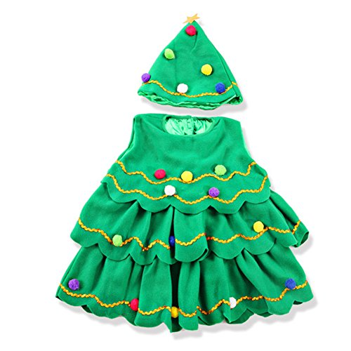 Kids Costumes Flannelette Christmas Tree Performance Clothing Set (5-6 Yrs) - Make Christmas Tree Costume