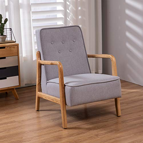 - Mid-Centruty Modern Upholstered Accent Arm Chair with Wooden Frame Living Room Furniture - Light Grey