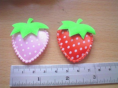 25 Pcs - mix color satin polkadot strewberry Padded Applique craft - Mix Color - Size 30 MM