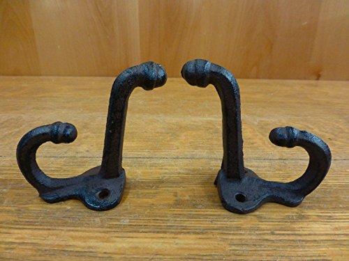 OutletBestSelling 2 Brown Antique-Style Double School Coat Hooks Rustic CAST Iron 3'' Wall Hardware by OutletBestSelling