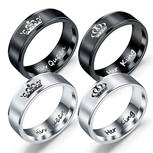 Her King and His Queen Titanium Ring -Matching Couples Stainless Steel Rings Black Silver for Valentine's Day Gifts