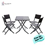 H&L Patio Resin Rattan Steel Folding Bistro Set, Parma Style, All Weather Resistant Resin Wicker, Powder Coated Heavy Duty Steel Frames, 3 PCS Set of Foldable Table and Chairs, Color Brown