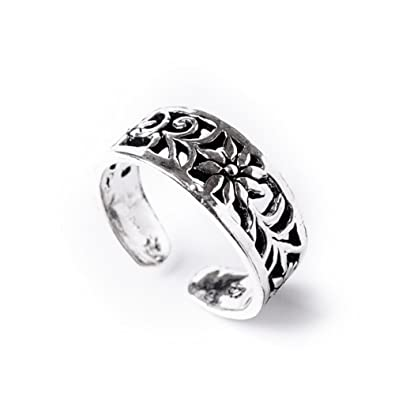 81stgeneration Women's .925 Sterling Silver Flower Midi Finger Adjustable Toe Ring D8MnCk