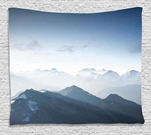 Ice Rock Climbing - Ambesonne Farmhouse Decor Tapestry, Fog Morning in Rock Mountain Region in Northern Hiking Climbing Ice Photo, Wall Hanging for Bedroom Living Room Dorm, 80 W X 60 L Inches, Soft Blue