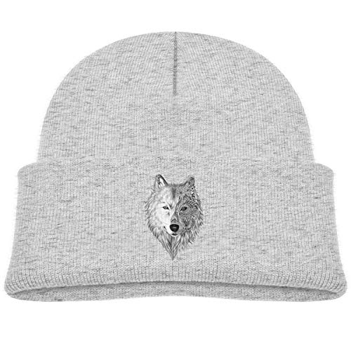 Kids Knitted Beanies Hat Big Wolf Head Winter Hat Knitted Skull Cap for Boys Girls Gray -