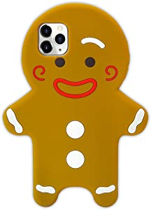 Losin 3D Gingerbreadman Case Compatible with Apple iPhone 11 Pro Max 6.5 inch Case for Christmas Fashion Christmas Cute Cartoon Biscuit 3D Gingerbread Man Cookie Soft Silicone Back Cas