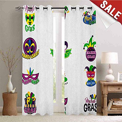 Hengshu Mardi Gras Decor Curtains by Set of Carnival Masks Hats and Fleur De Lis Symbols Colorful Joyous Collection Room Darkening Wide Curtains W96 x L96 Inch Multicolor ()