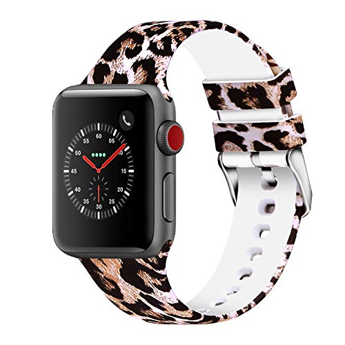 WISHTA Compatible with Apple Watch Band 38mm 42mm 40mm 44mm, Women Men Pattern Printed Rubber Straps Replacement Sports Fan Wristbands for iWatch Series 4/3/2/1 (Flower 07, 38mm/40mm) (Size 40 Rubber Bands)