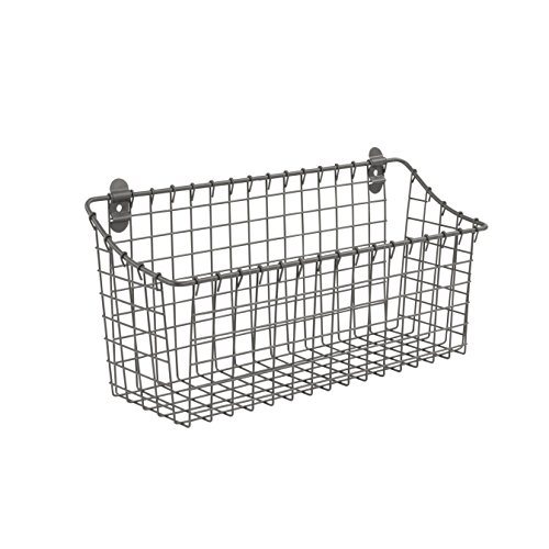 Spectrum Diversified Vintage Wall Mount Storage Basket, Extra Large, Industrial Gray ()