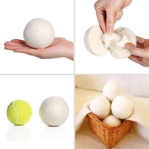 Mydio Wool Dryer BallsWool Dryer Balls- 6 Pack,Premium Fabric Softener Balls,Natural, Eco Friendly, Reusable