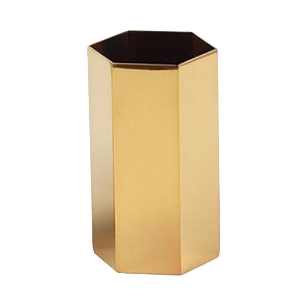 TOOGOO Gold Flower Vase Pen Holder Desktop Storage Container for Home Office - Hexagon