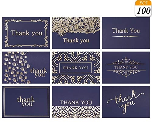 VONDERSO Thank You Cards Notes In 9 Designs Blank Inside With Envelops For Wedding, Birthday, Baby Shower, Party Favors, Business, Graduation, Greeting Cards, Funeral 4x6 inch (100PCS, Navy-Blue) for $<!--$19.99-->