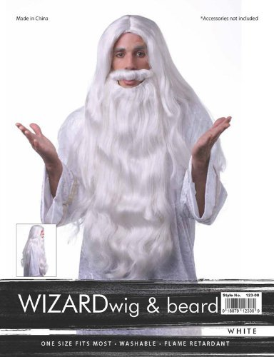 WHITE WIZARD BEARD HAIR SYNTHETIC WIG by Characters
