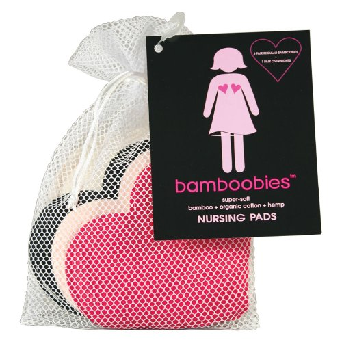 Bamboobies 4 paires multi-pack Coussinets d'allaitement lavables en bambou Multi-couleurs: rose chaud, Noir & Rose Pâle