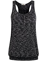 Womens Sleeveless Round Neck Loose Fit Racerback Workout Tank Top