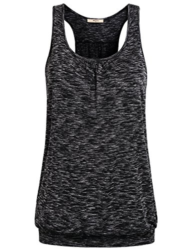 Miusey Tops for Women, Ladies Sleeveless Girls Scoop-Neck Racerback Spring Yoga Summer Workout Clothes Tunic Tank Black XXL