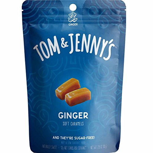 - Tom & Jenny's Sugar Free Soft Caramels - Sweetened with Xylitol and Maltitol - Better Alternative for a Moderate 100 g Low Net Carb Keto Diet Lifestyle - (Ginger Caramel, 1-pack)