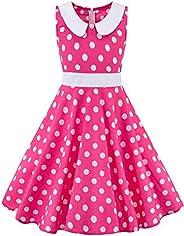FKKFYY 50s Rockabilly Swing Dress for Girls
