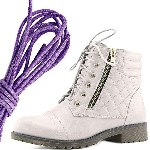 Dailyshoes Donna Militare Allacciatura Fibbia Stivali Da Combattimento Alla Caviglia Alta Tasca Esclusiva Per Carte Di Credito, Viola Bianco Avorio Pu