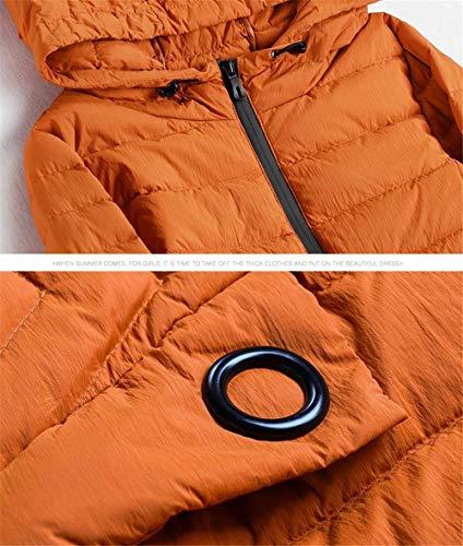 Donna Lungo Arancione ~ Allentato Con Cappuccio 90 Antivento Bianca Anatra Invernale Piumino Lqyrf 86 Caldo nfApHX5f