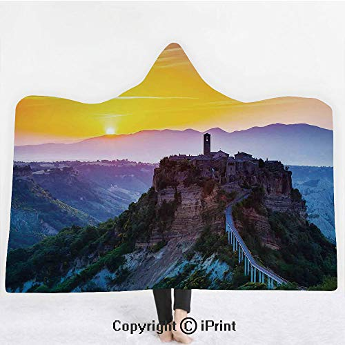 Tuscan Decor 3D Print Soft Hooded Blanket Adult Premium Throw Blanket,Lightweight Microfiber,Old Historic Castle and Town on Top of the High Hills in Italian Renaissance at Sunset Print,All Season for ()