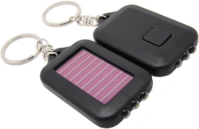 Soldmore7 Mini Llavero de energía Solar con 3 Luces LED, Linterna de Emergencia, Linterna LED de 3 linternas Fob, energía Solar, Llavero de luz