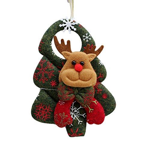 SONG LIN 3D Santa Claus Snowman Christmas Tree Pendant Door Hanging Ornaments Deer Bear Decoration New Year Wreath (Deer)