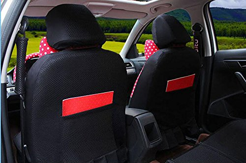 20pcs/SET new 2016 luxury cartoon Seat Covers for cars Front & Back car covers four seasons Universal car seat cover car interior Red dot & black V5603 by Maimai88 (Image #2)