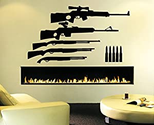 Wall Window Sticker Decal Gun Vector Bullet Hunter Duck Hunting Gun Shooting Country Boys Bedroom 1273b by Made by order that we recomend individually.