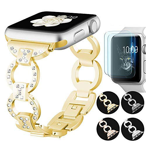 CAM-ULATA iWatch Bands for Apple Strap Series 1 Series 2 Series 338mm with Screen Protector for Women Bling Diamond Chain Bracelet Stainless Steel Wristband Band Replacement Gold