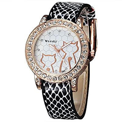 Weesky Cute Cat Design Rose Gold Case Leather Watch Wrap Casual Watch With Crystal Dress Watch For Women Wholesale