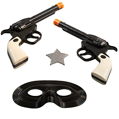 Cowboy Mask (TukTek Kids First Wild West 6 Shooter 2 Pack Toy Pistol Gun for Cowboy Play w/ Mask & Badge for Boys & Girls)