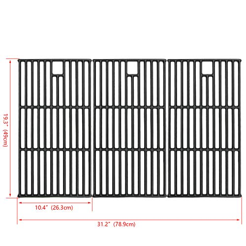 - Hisencn Grill Grate Cast Iron Cooking Grid Replacement Parts for Brinkmann 810-8501, Charmglow, Costco Kirkland, Jenn Air 720-0337, Members Mark, Nexgrill, Perfect Flame Gas Grill Models, 19 1/4