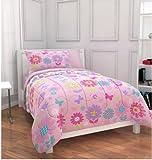 Pink Daisies & Butterflies Girls Twin Comforter Set (5 Piece Bed In A Bag)