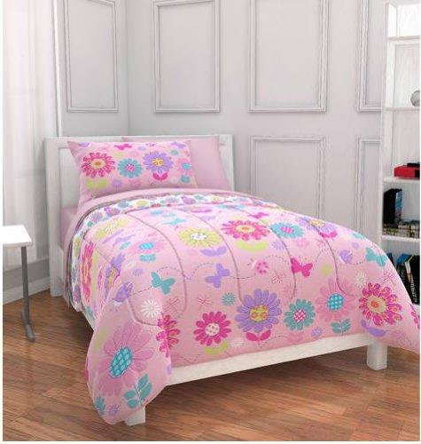 - Pink Daisies & Butterflies Girls Full Comforter Set (7 Piece Bed In A Bag)
