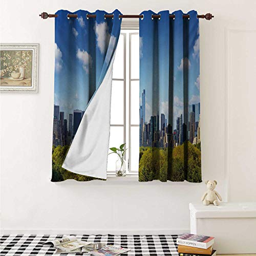 City Waterproof Window Curtain Manhattan Skyline with Central