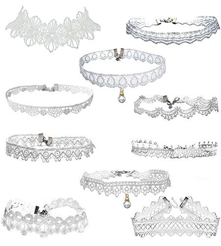 LINKY 10pcs White Lace Choker Necklace Women Girls Jewelry Set (White) (Flower Necklace Set Choker)