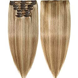 s-noilite Clip in Human Hair Extensions 100% Real Remy Thick True Double Weft Full Head 8 Pieces 18 clips Straight silky (10 inch - 110g,Ash Blonde/Bleach Blonde (#18/613))