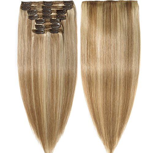 s-noilite Clip in Human Hair Extensions 100% Real Remy Thick True Double Weft Full Head 8 Pieces 18 clips Straight silky (14 inch - 120g,Ash Blonde/Bleach Blonde (#18/613)) (Hair Remy Extensions Thick)