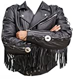 Classyak Western Style Moto Jacket, Quality Cowhide Leather, Xs-5xl (3X-Large)