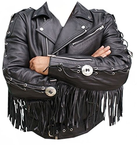 Mens Fringed Leather Motorcycle Jacket - 3