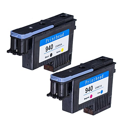 SD HP940 Printhead 2PK C4900A C4901A Remanufactured Compatible for HP Officejet with Pro 8000 8500A 8500A Plus 8500A Premium(1BY, 1MC)-LKB US