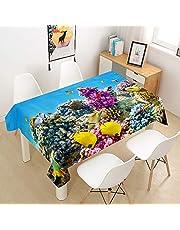 Oduo Bordsduk vattentät polyester rektangulär, 3D havsdjur tryckt bordsduk lättskött fläckskydd tvättbar utomhus trädgård dekoration färg & storlek valbar